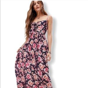 Band of Gypsies Pink Blue Floral Maxi Dress S